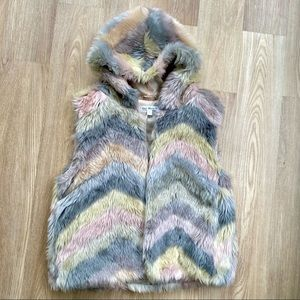 Say What? Gray & Pink Faux Fur Vest w/ Hood
